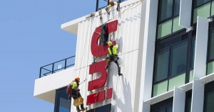 unilodge sign installed by rope access