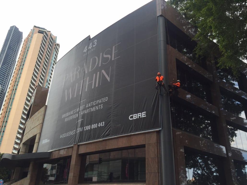 Abseil Banner Wrap Brisbane - AllTech Abseilers brisbane best multistory service provider
