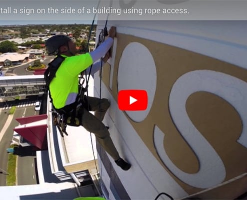 Signage Toowoomba Hospital - Alltech Abseiler, rope access company