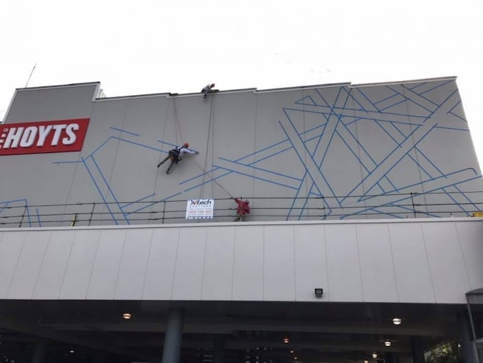Industrial Abseilers Climbing - HOYTS Cinemas painted by Industrial Abseilers