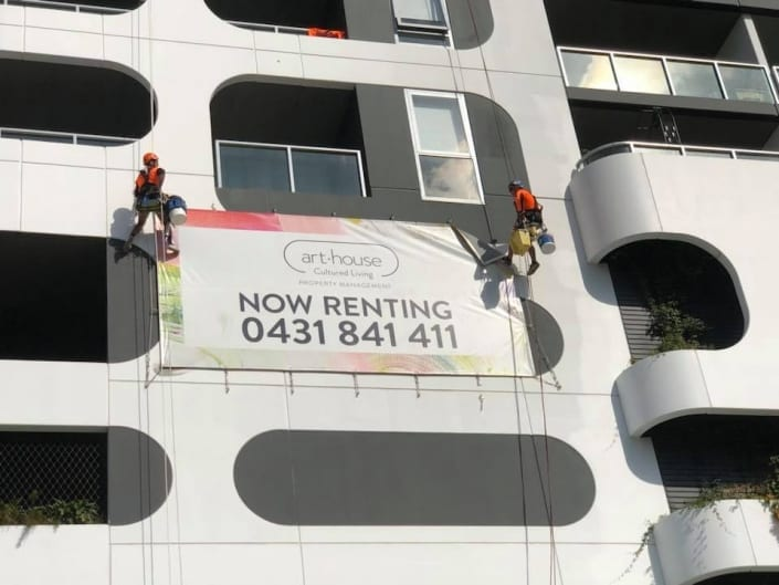 Rope Access Sign Installation Services - Art-house Cultured Living Banner