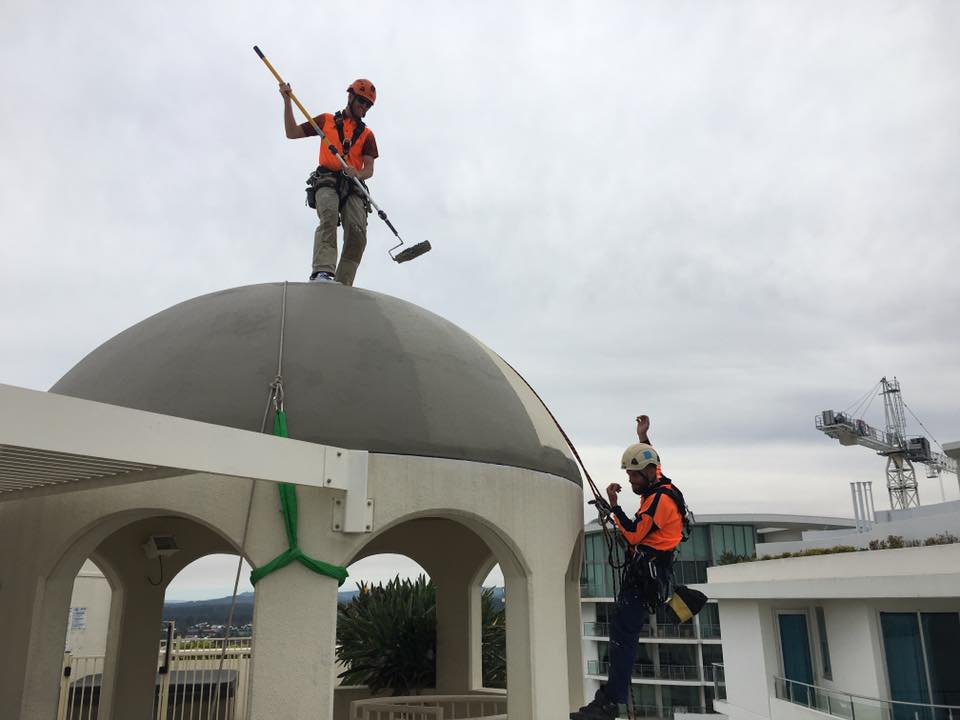Rope Access Industrial Abseilers Commercial Painting Rolling Paint Roof Top - Roof Restorations Brisbane