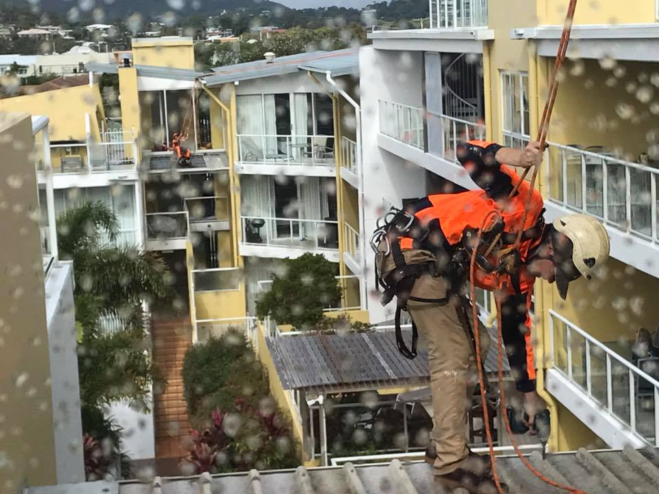 Rope Access Roof Restorations Rainny Day - Working at Extreme Height Experts