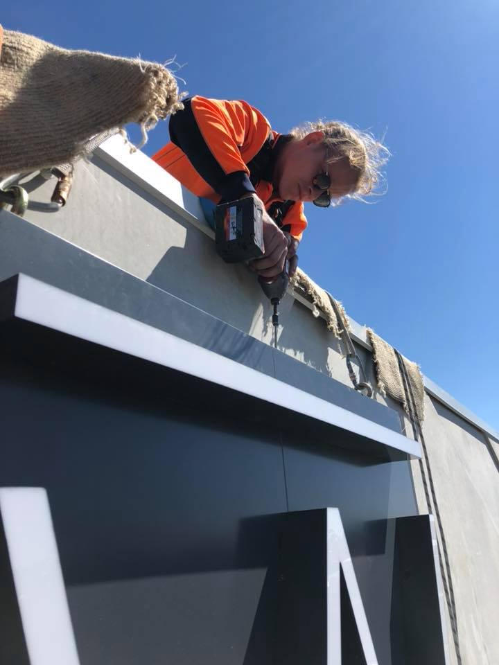 Signage Installation Rope Access Teamwork - Alltech Industrial Abseilers